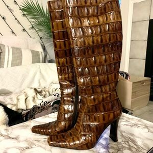 Italian faux reptile knee high heel boots